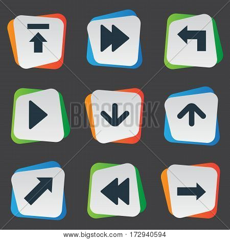 Set Of 9 Simple Arrows Icons. Can Be Found Such Elements As Rearward, Indicator, Upward Direction And Other.