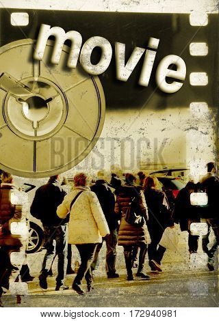 Film strip with a group of people reel and word