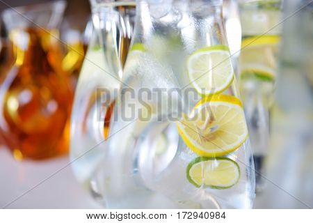 Jugs Full Of Refreshing Lime Drink On Some Festive Event