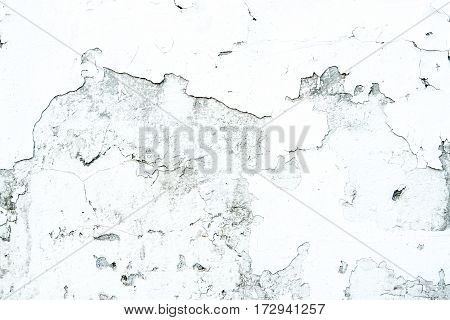 White Plaster Wheathered Wall Texture With Cracks