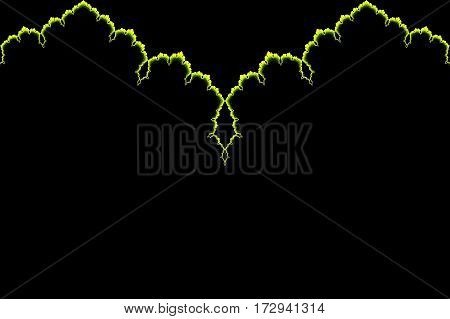 Delicate illumination elegant yellow ornate line on dark black background space