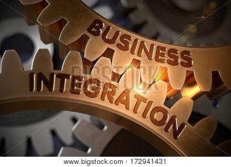 Business Integration - Illustration with Lens Flare. Business Integration - Industrial Design. 3D Rendering.