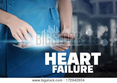 Nurse Touch Her Tablet With Heart Failure Text Display.