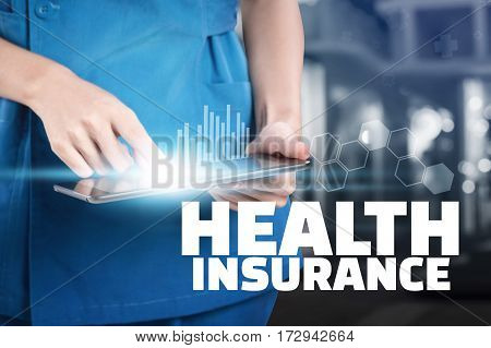 Nurse Touch Her Tablet With Health Insurance Text Display.