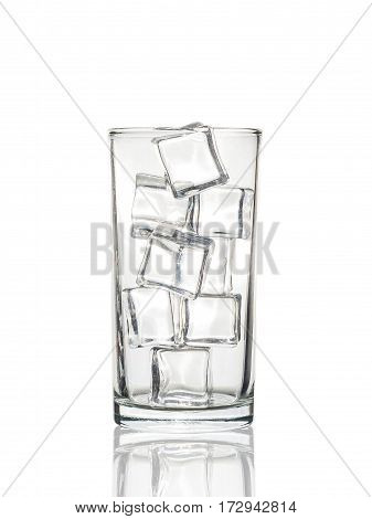 Glass With Ice Cubes On White Background With Clipping Path