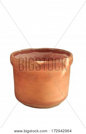 Clay Flower Pot, Isolated On White Background