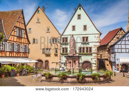 Historic town square of Eguisheim, Alsace region, France
