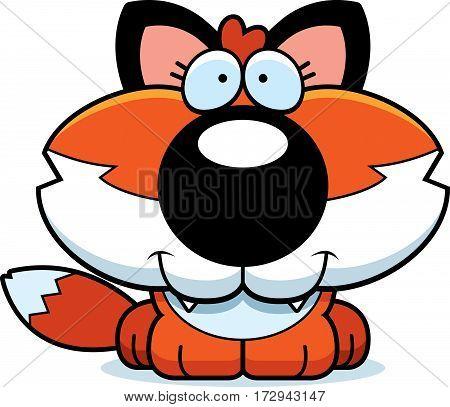 Cartoon Happy Fox Cub