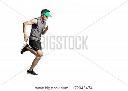 Portrait of an asian sport man wearing sportwear and green visor for running. Isolated full length on white background with copy space