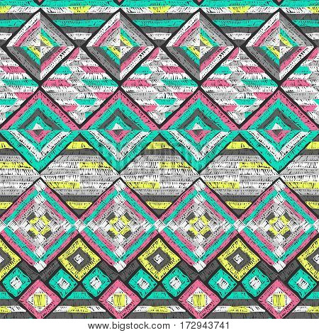 Ethnic pattern. Tribal doodles ornament. Hand drawn effect illustration. Embroidery style texture for fabric design interior elements paper backgrounds and printed products.