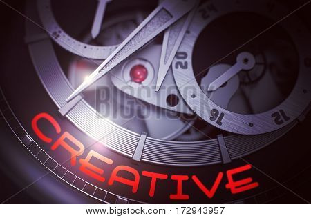 Creative - Black and White Close View of Wrist Watch Mechanism. Automatic Pocket Watch Machinery Macro Detail with Inscription Creative. Business Concept with Glow Effect and Lens Flare. 3D Rendering.