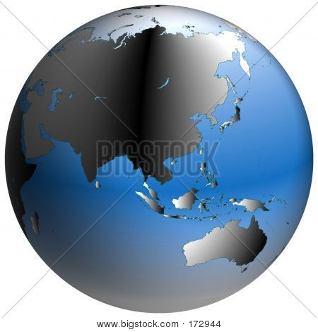 World Globe:asia, With Blue-shaded Oceans
