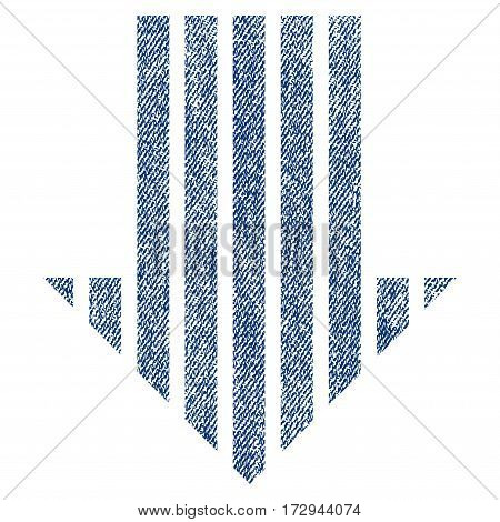 Stripe Arrow Down vector textured icon for overlay watermark stamps. Blue jeans fabric vectorized texture. Symbol with unclean design. Blue ink rubber seal stamp with fiber textile structure.