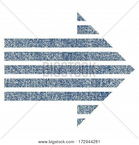 Stripe Arrow Right vector textured icon for overlay watermark stamps. Blue jeans fabric vectorized texture. Symbol with dust design. Blue ink rubber seal stamp with fiber textile structure.