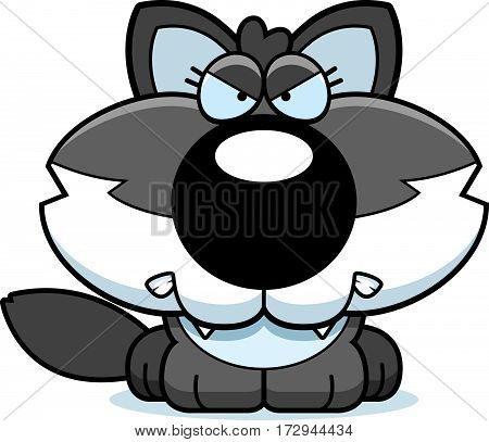 Cartoon Angry Wolf Pup