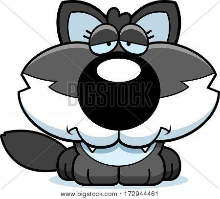 Cartoon Sad Wolf Pup