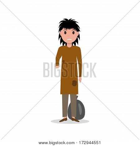 Vector illustration cartoon woman dirty indigent beggar, homeless. Isolated white background. Poor girl begging. Unemployed, jobless female. Flat style design. Woman bum.