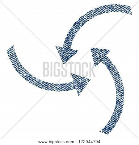Swirl Arrows vector textured icon for overlay watermark stamps. Blue jeans fabric vectorized texture. Symbol with dirty design. Blue ink rubber seal stamp with fiber textile structure.