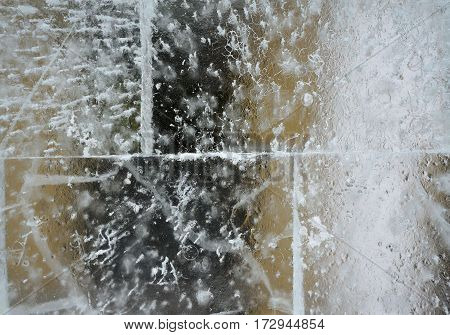 Frosty Winter Pattern On Ice,  Texture Background