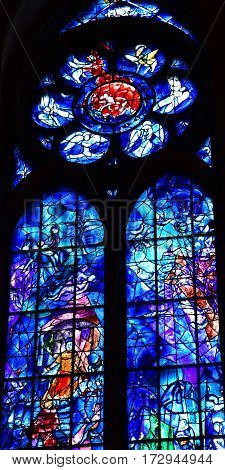 Reims France - july 25 2016 : stained glass window of the Notre Dame cathedral drawn by Marc Chagall