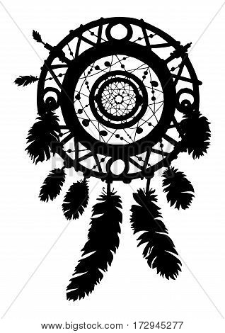 Native american ethnic tribal talisman. Hand drawn dreamcatcher silhouette with beads and feathers