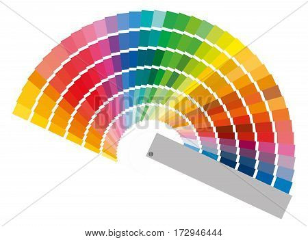 Color palette guide, paint samples colored swatch catalog raster illustration