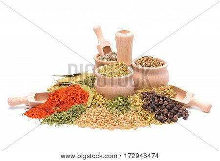 Different types of condiments on white background