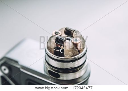 Mod for vaping device and dripping RDA without top cap, coils. Electronic e - cigarette,  vaporizer, vape, for quit smoke e-liquid.