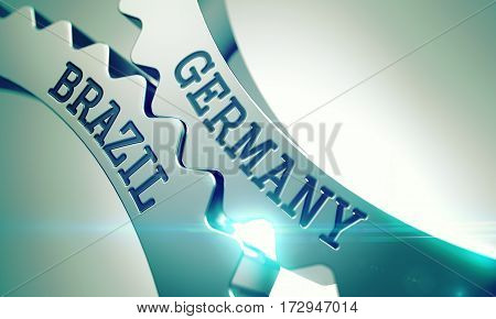 Inscription Germany Brazil on Shiny Metal Cogwheels - Enterprises Concept. Germany Brazil Shiny Metal Cog Gears - Business Concept. with Glow Effect. 3D Illustration.