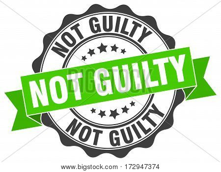 not guilty. stamp. sign. seal. round. retro. ribbon