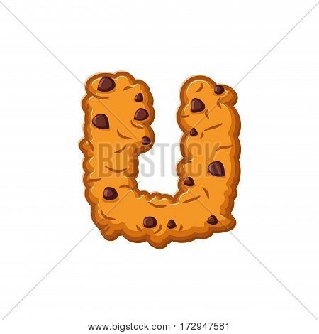 U letter cookies. Cookie font. Oatmeal biscuit alphabet symbol. Food sign ABC