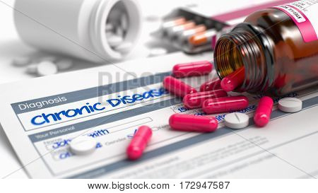 Handwritten Diagnosis Chronic Diseases in the Anamnesis. Medicaments Composition of Red Pills, Blister of Pills and Bottle of Tablets. 3D.