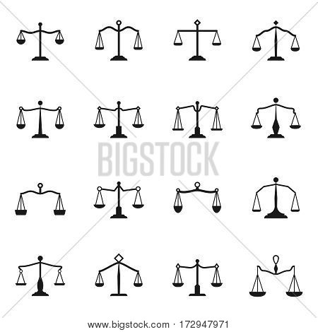 Scales icons. Vector balance antique libra set for justice signs. Collection of black scales of justice illustration