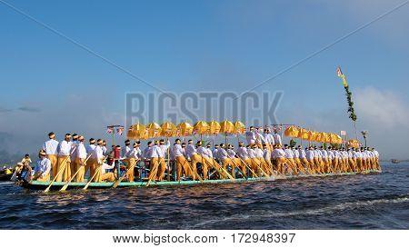 Inle Lake, Myanmar - October 2015; Pilgrims celebrating Pagoda Festival on Inle Lake, Myanmar