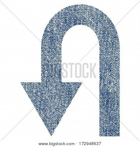Turn Back vector textured icon for overlay watermark stamps. Blue jeans fabric vectorized texture. Symbol with scratched design. Blue ink rubber seal stamp with fiber textile structure.