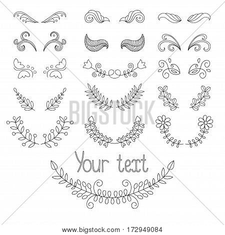 Big vector set: calligraphic design elements and page decoration with laurels, wreaths, calligraphic lines dividers. Hand drawn design elements