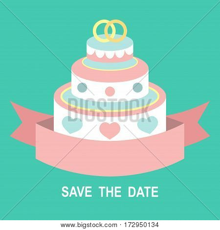 Wedding romantic invitation card with ribbon, ring, wedding cake in flat style. Save the Date invitation in vector. Cake vector. Cake dessert. Cake icon.