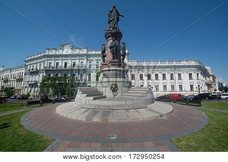 Odessa, Ukraine, circa august 2016: Monument to Empress Catherine, who issued a decree established a city Odessa