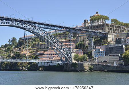 PORTO, PORTUGAL - AUGUST 5, 2015: Bridge of Don Luis and Monastery of Gaia in the Porto Portugal.
