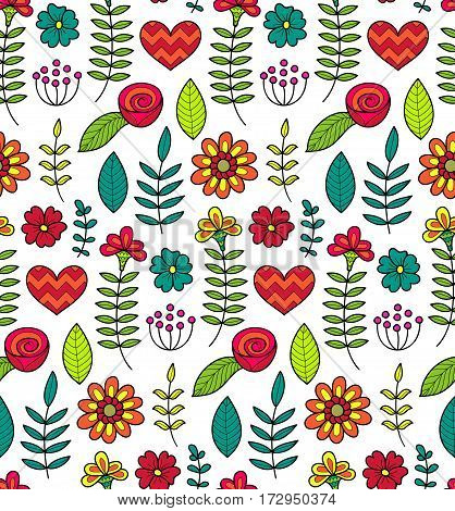 Colorful vector seamless floral pattern. Summer endless background with flowers and hearts