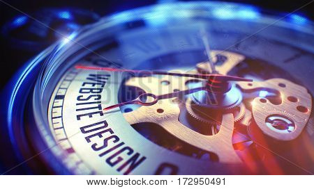 Business Concept: Website Design Wording. on Watch Face with CloseUp View of Watch Mechanism. Time Concept with Selective Focus and Light Leaks Effect. 3D Illustration.