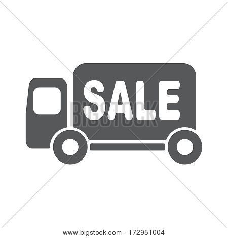 Sale Van vector pictograph. Illustration style is a flat iconic style