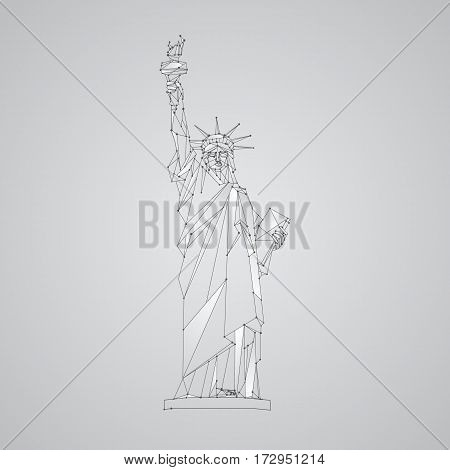 Polygonal mesh Statue illustration. Independence Day background with a monument in New York City. Vector low poly black lines and dots.