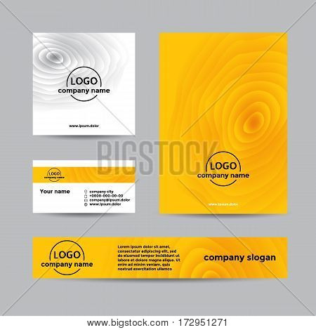 Yellow wooden corporate set of business card cover and banner. Abstract vector background for company branding with wooden texture.
