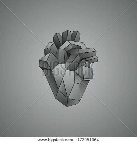 Polygonal gray human heart. Abstract vector realistic anatomical organ. Polygon mesh with the lines.
