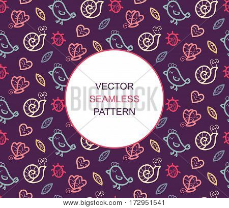 Summer vector seamless pattern with bird, ladybug, butterfly, snail, heart and leaf with place for text