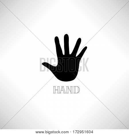 Helping Hand Icon. Human Hand Silhouette With Shadow And Handwritten Lettering