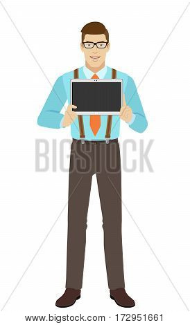 Businessman showing blank digital tablet PC. A man wearing a tie and suspenders. Full length portrait of businessman in a flat style. Vector illustration.