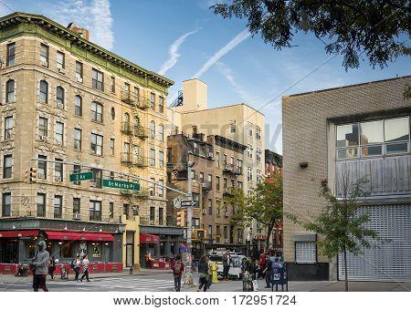 New York, USA, november 2016: St Marks Place street scene in Manhattan, New York City