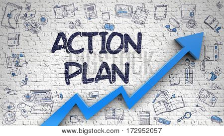Action Plan Inscription on the Line Style Illustration. with Blue Arrow and Doodle Design Icons Around. Action Plan - Modern Style Illustration with Hand Drawn Elements.